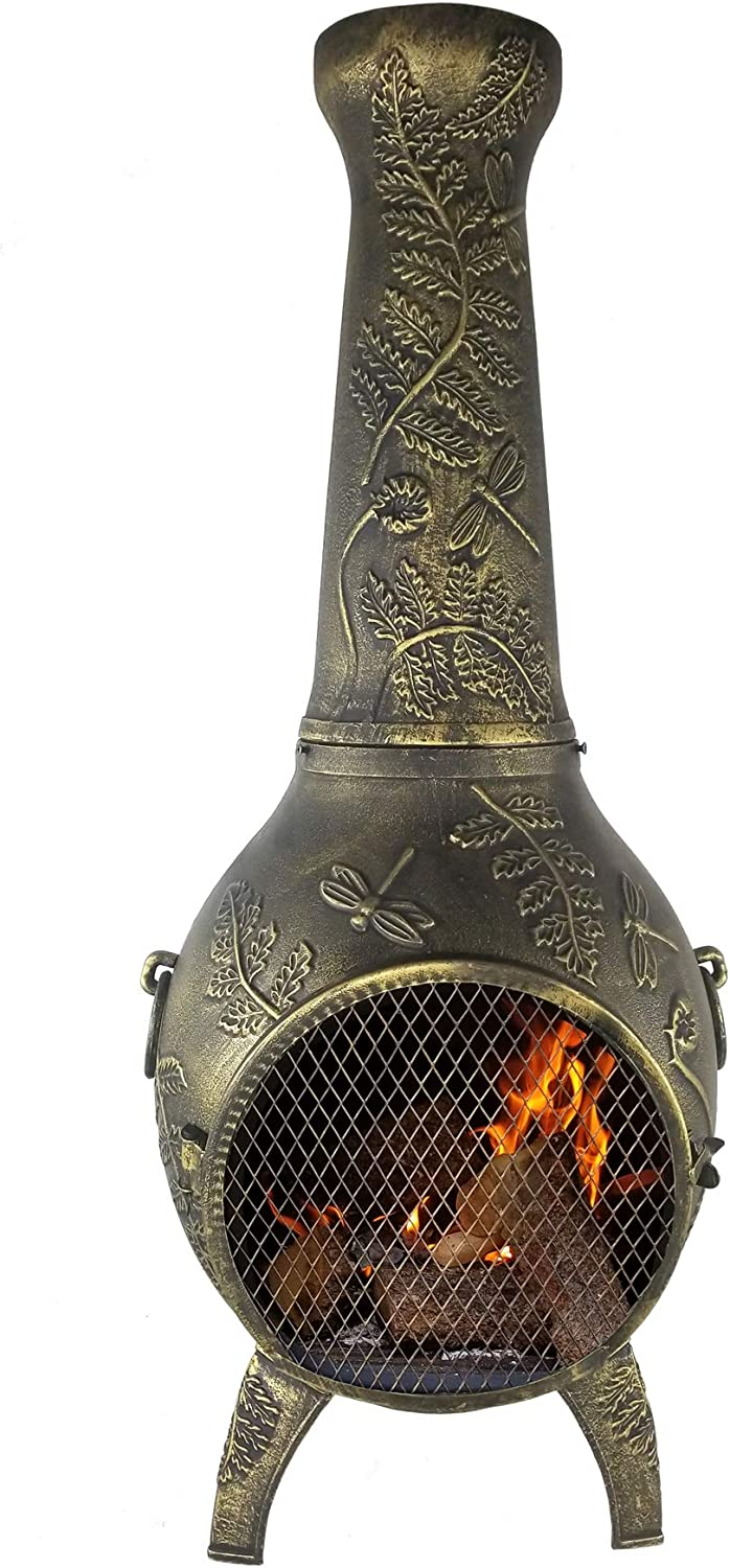 The Blue Rooster CAST Aluminum Dragonfly Wood Burning Chiminea in Gold Accent