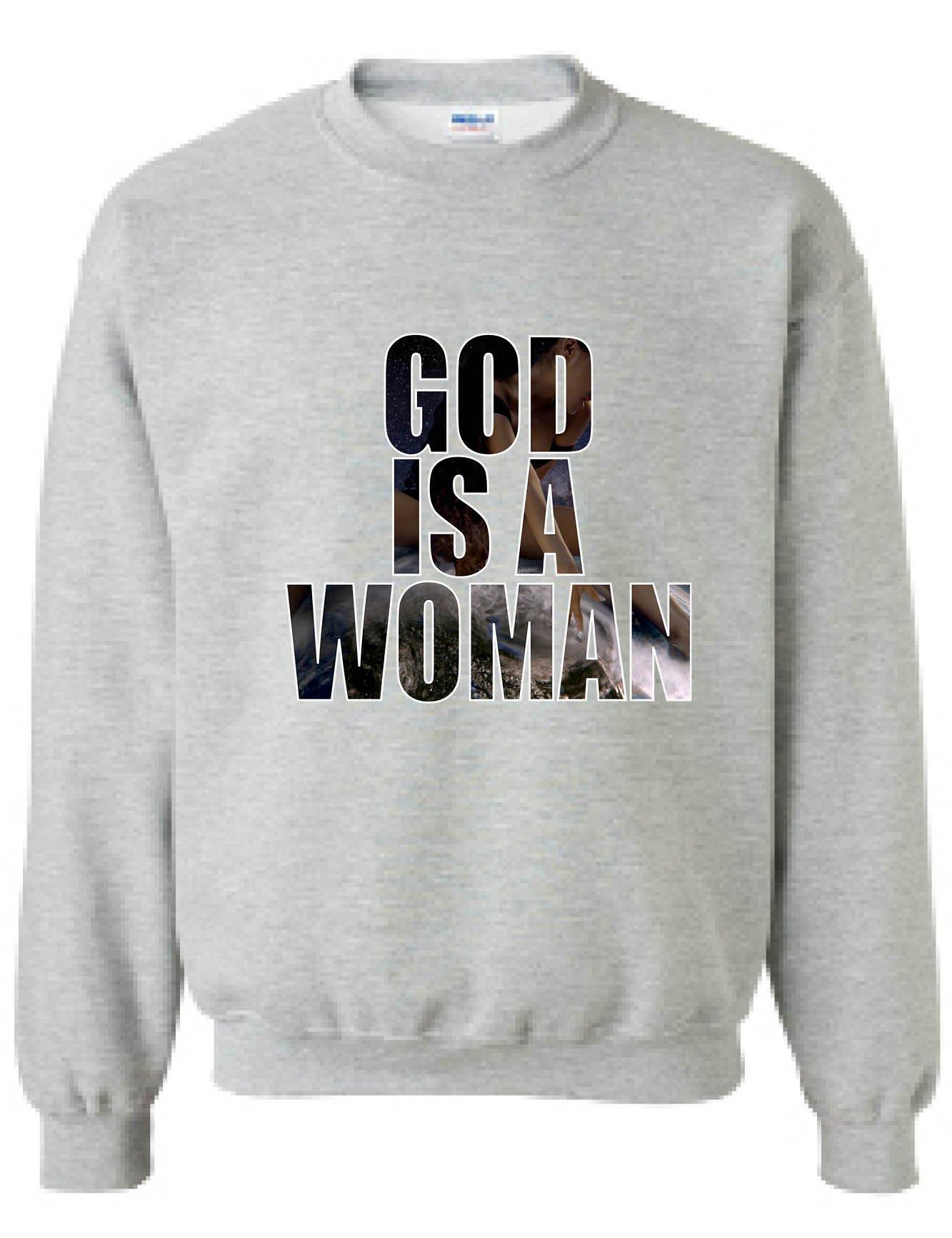Allntrends Adult Sweatshirt God is A Woman Trendy Top Hot Fans Popular Gift (3XL, Sporty Grey)