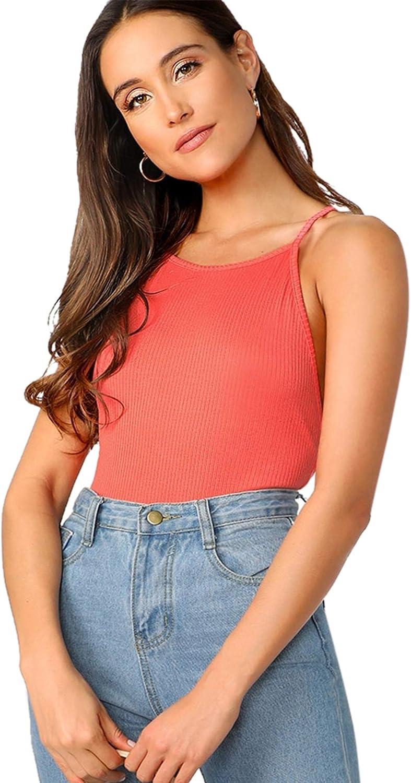 Verdusa Womens Criss-Cross Backless Rib-Knit Solid Bodysuit Orange XS