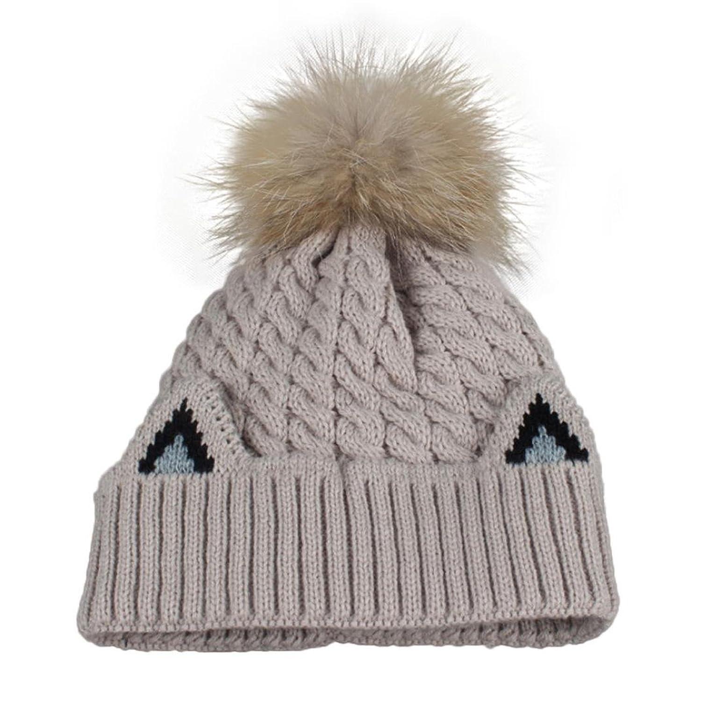 Binmer(TM) Women Winter Crochet Hat Fur Wool Knit Beanie Raccoon Warm Cap