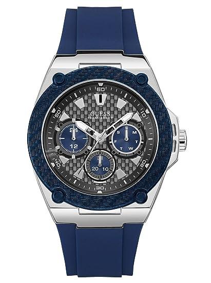 Guess Reloj Multiesfera para Hombre de Cuarzo con Correa en Caucho W1049G1: Amazon.es: Relojes