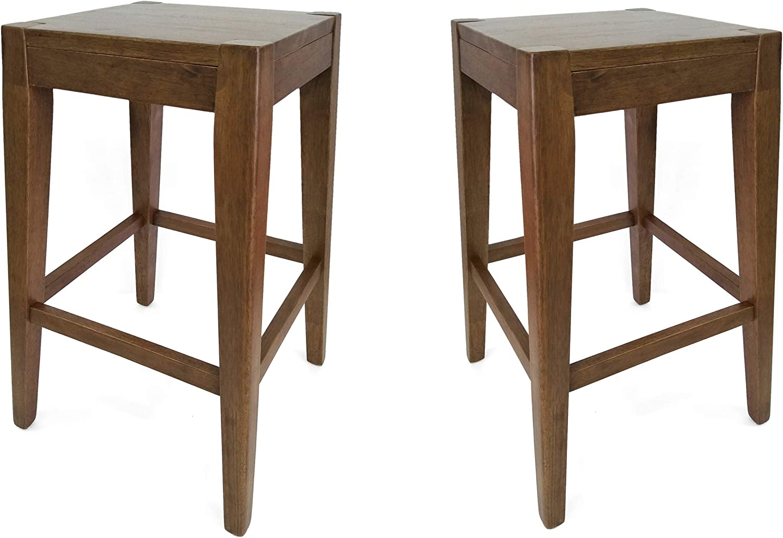 "Christopher Knight Home Elaina 26"" Wooden Counter Stool (Set of 2), Walnut Finish"