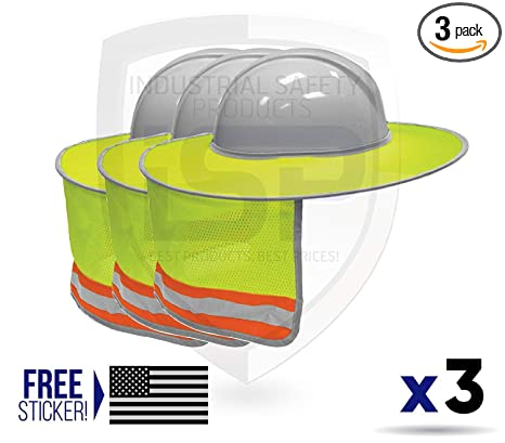 cc7f586987ac3 ML Kishigo 2873-6 Full Brim Sun Shield Color Lime (3 Pack) Include Free  Sticker (American Flag) - - Amazon.com