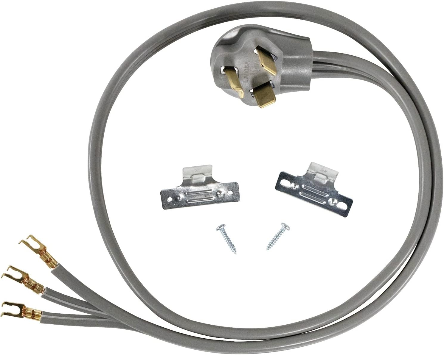 Certified Appliance Accessories 30-Amp Appliance Power Cord, 3 Prong Dryer Cord, 3 Wires with Open-End-Connectors, 5 Feet, Copper Wire