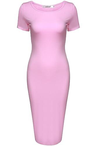 Meaneor Women's Sweetheart Short Sleeve Classic Slim Fit Sexy Midi Dress