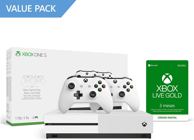 Microsoft Xbox One S - Pack Con Consola 1 TB, 2 Mandos Y 3 Meses De Game Pass Y 3 Meses De Xbox Live Gold: Amazon.es: Videojuegos