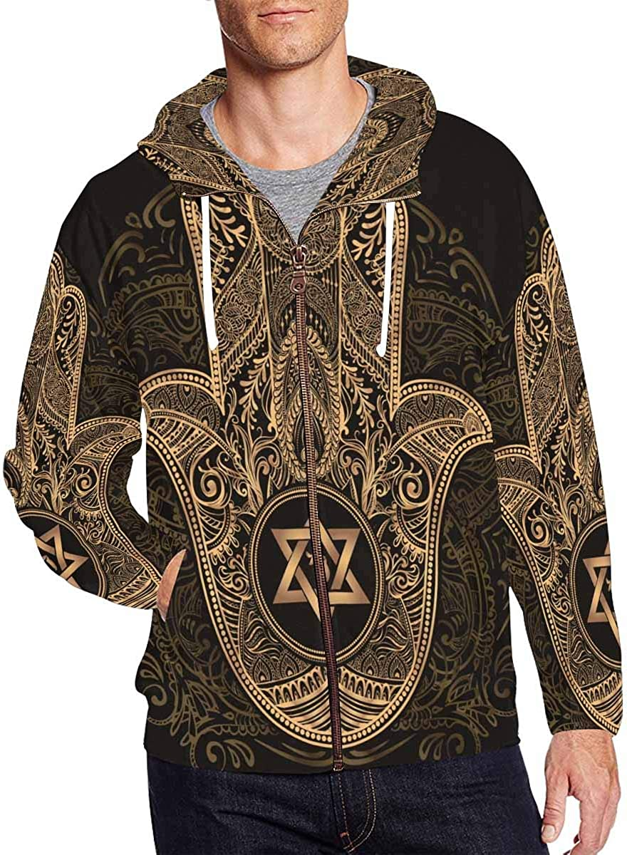 INTERESTPRINT Mens Lightweight Full Zip Hoodie Elegant Traditional