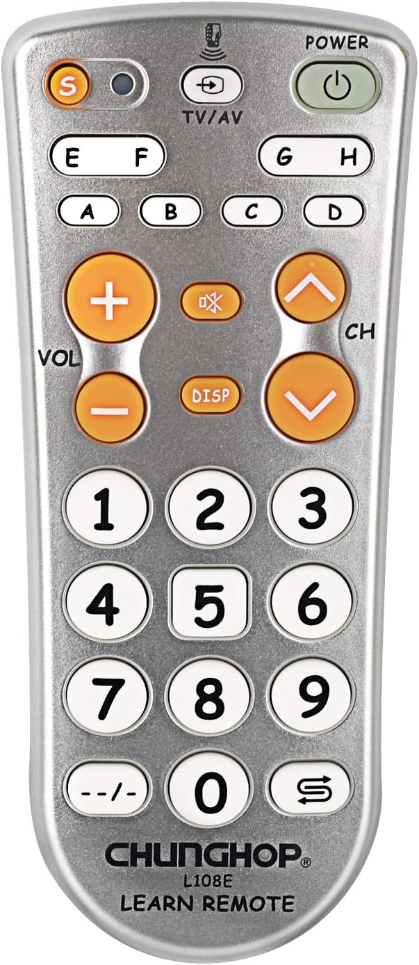 Remote Control Combinational Universal Learning Controller Chunghop L108E for TV/SAT/DVD/CBL/DVB-T/AUX Big Button