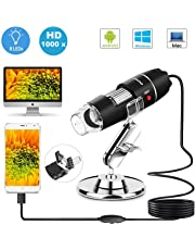 DigiHero USB Microscopio Digitale Endoscopio,1000 x Ingrandimento 1080p Mini Portatile Microscopio con Adattatore OTG e Supporto in Metallo,8 LED USB 2.0,Compatibile per Finestra, Android, Mac, Linux