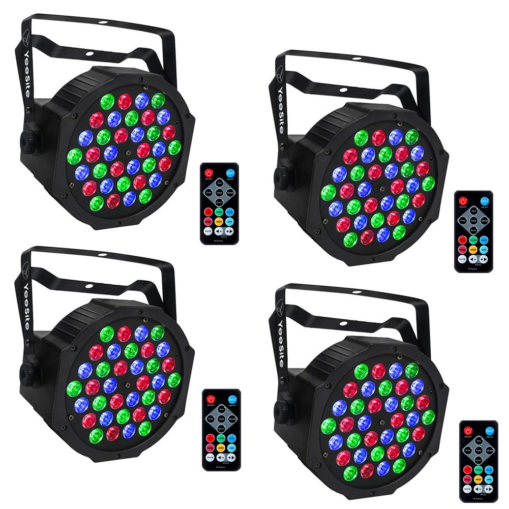 Par Lighting for Stage Lights, YeeSite 36LEDs RGB Par Can Sound Activated by Remote and DMX Control Up Lights for Church Wedding Stage Lighting DJ Party - 4 Pack by YeeSite