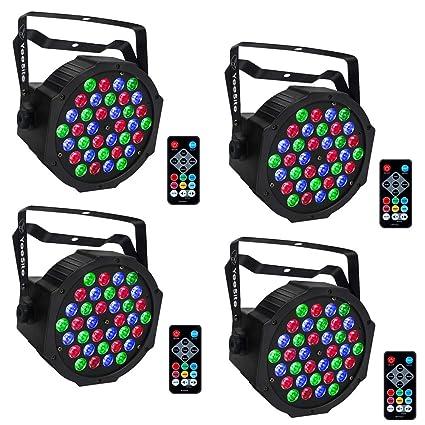 LED Par Lights, YeeSite 36LEDs RGB Stage Lights with Remote Control DMX  Lights for Church Wedding DJ Stage Lighting - 4 Pack