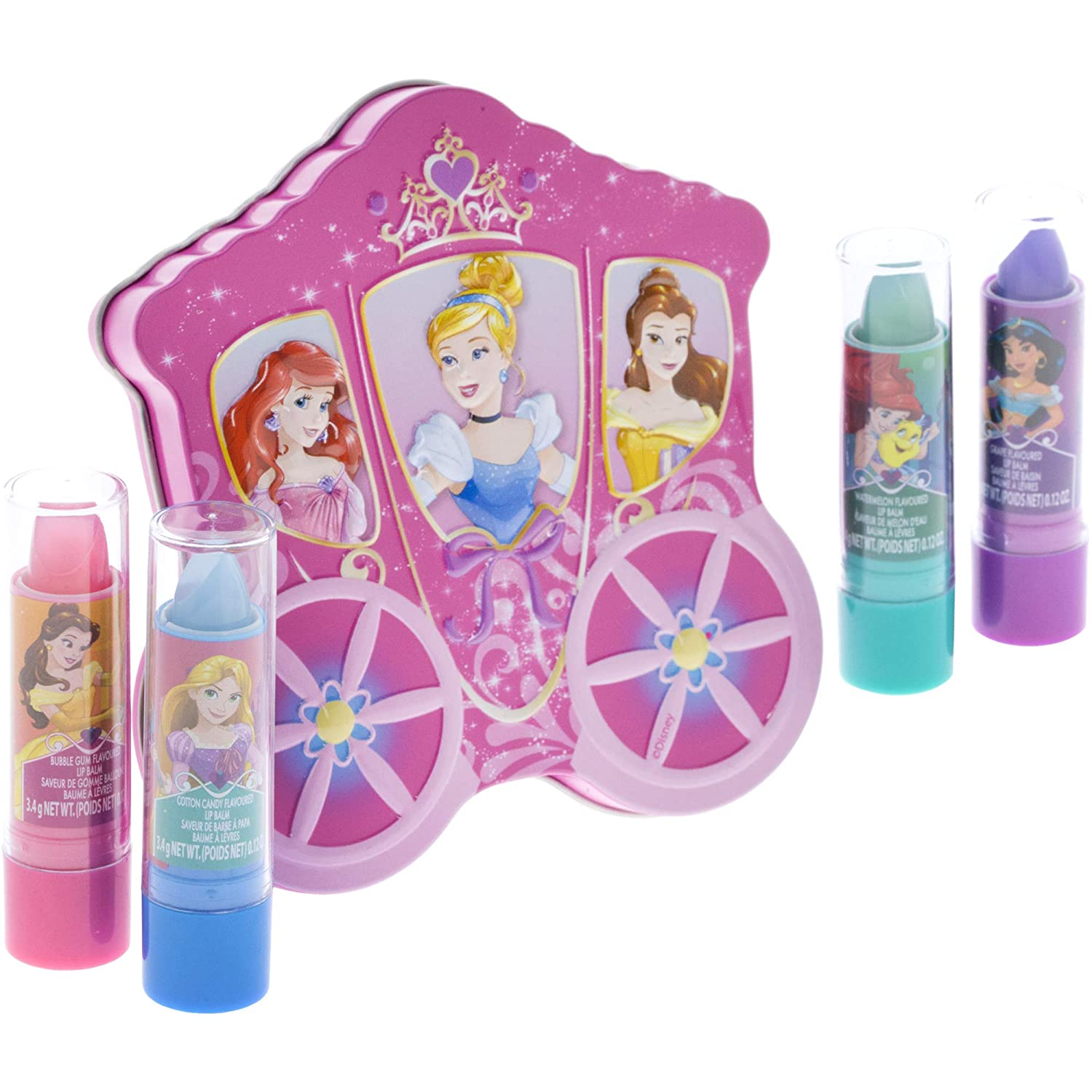 Disney Princess 4 Pack Lip Gloss with Carraige Inspired Storage Case
