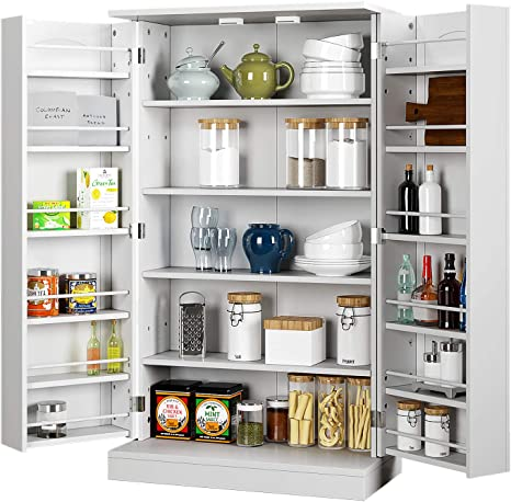 Amazon Com Homefort Kitchen Pantry Cabinet Storage Cabinet With 6 Adjustable Shelves Space Saving Cupboard Cabinet For Kitchen Garage Pantry Office Patio White Kitchen Dining
