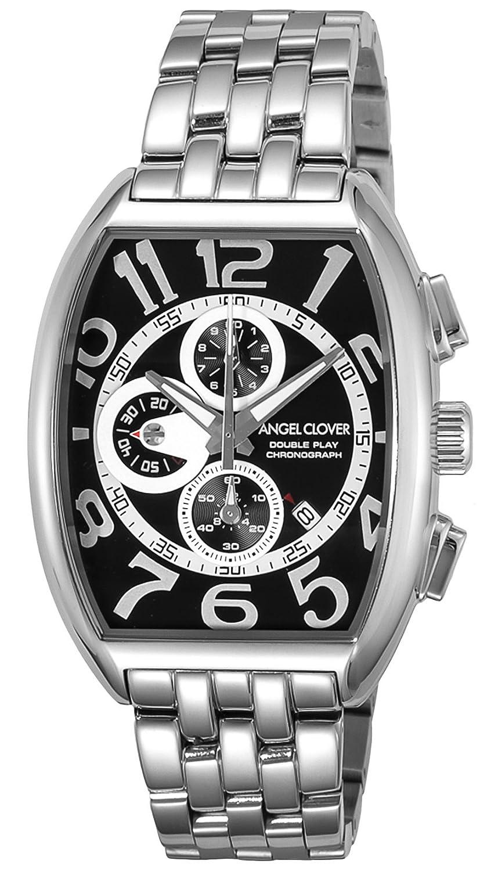 Angel Clover Herren Unisex-Uhr Double Play Schwarz - Silber-Zifferblatt Datum Chronograph DP38SBK