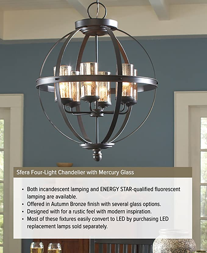 Sea Gull Lighting 3110404 715 Sfera Four Light Chandelier With Mercury Glass Autumn Bronze Finish Com