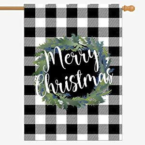 ZUEXT Merry Christmas Black and White Buffalo Check Plaid House Flag 28 x 40 Inch, Seasonal Wreath Winter Rustic Farmhouse Burlap Flags 12.5 x 18 Inch for Outside, Home Yard Xmas Party Gift Decor