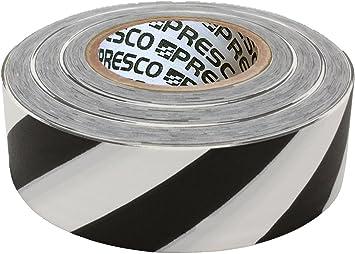 Presco Stripe Cinta de bandera con rollo estampado: 1-3/16 in. x 300 ft. (Rayas blancas y negras): Amazon.es: Bricolaje y herramientas
