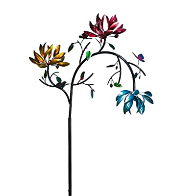 Evergreen Garden Mesmerizing Floral Metal Kinetic Wind Spinner - Sized to Make a Statement! 91 inches : Garden & Outdoor
