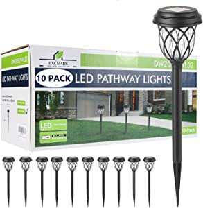10 Pack Solar Lights Outdoor Decorative, Solar Pathway Lights Outdoor, Solar Powered Garden Yard Lights for Walkway Sidewalk Driveway (Black, Cool White)