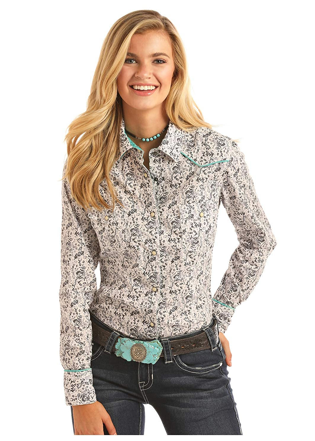 Rock Roll Cowgirl Womens Floral And Turquoise Piping Long Sleeve