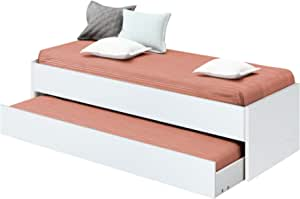 Pitarch Cama Nido Juvenil habitación Dormitorio Infantil Color Blanco Estilo Moderno 90x190 cm