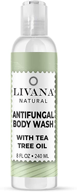 Antifungal Soap with Tea Tree Oil by Livana,8oz Treat & Wash Away Athletes Foot, Ringworm, Nail Fungus, Jock Itch, Body Odor & Acne. Antibacterial Defense for Bacteria Related Skin Irritations
