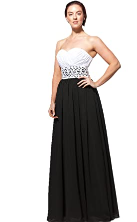 b87 black white Evening Dresses party full length prom gown ball dress robe (14)