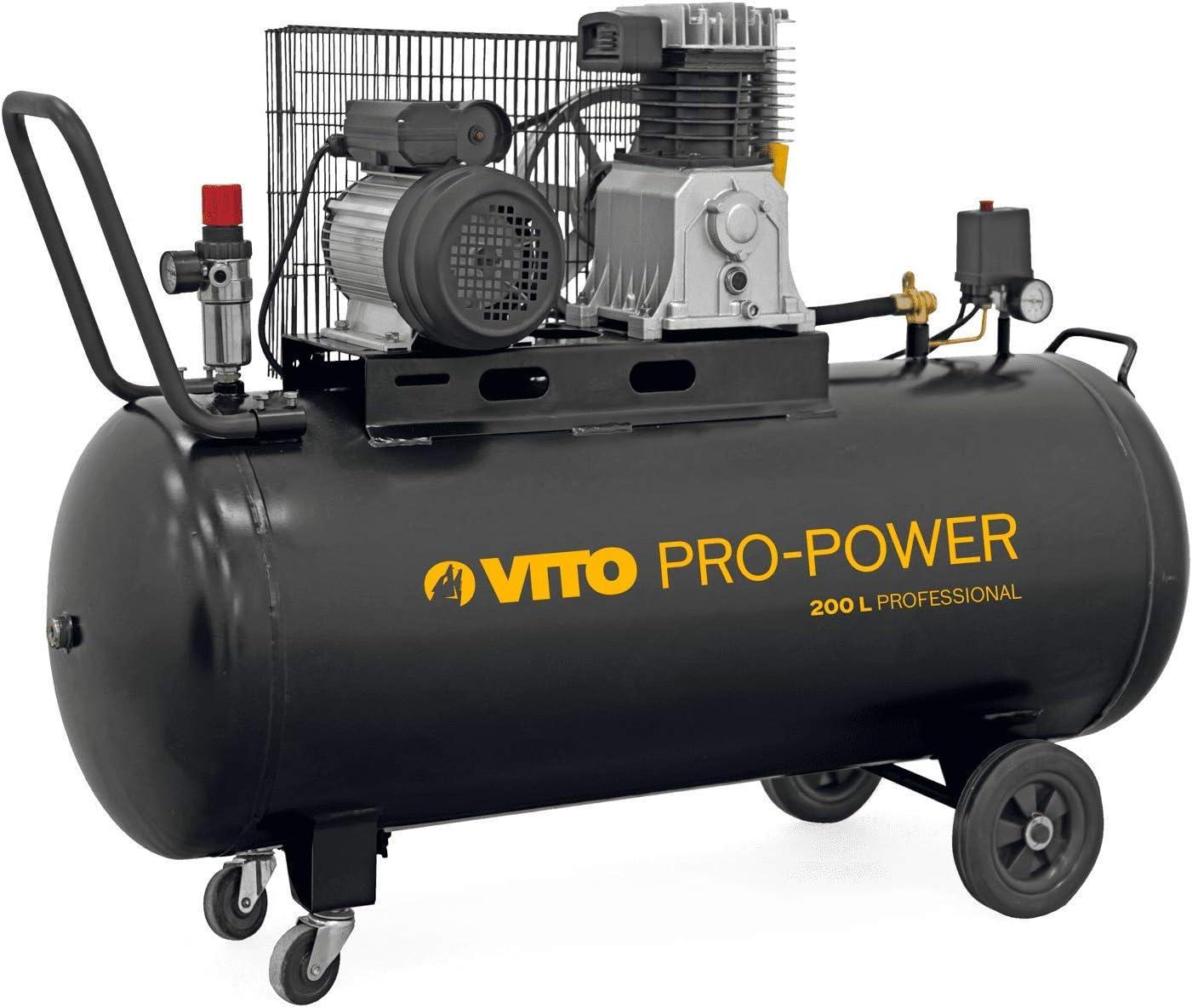 Vito Pro Power 200 Liter Kompressor 230v 3 Ps 10 Bar Eingestellter Betriebsdruck 12 Bar Max 300l Min Ölgeschmiertes 2 Zylinder Reihen 200l Kompressor Baumarkt