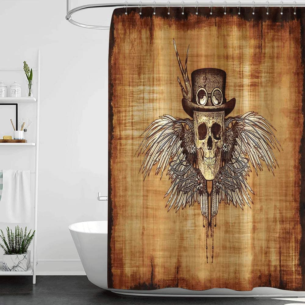 homecoco Shower Curtains for Bathroom Bamboo Skull,Cool Skull Icon on Parchement Background Retro Style Dead on Eagle Wings Gothic,Brown Orange W72 x L72,Shower Curtain for Bathroom