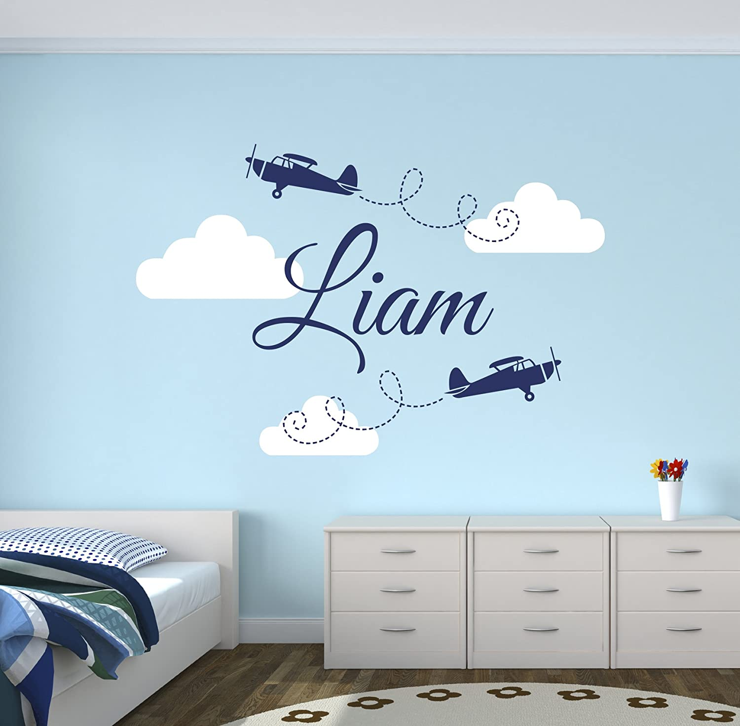 Custom Airplanes Name Wall Decal - Baby Boy Room Decor - Nursery Wall Decals - Airplanes Clouds Wall Decal Vinyl Sticker for Boys