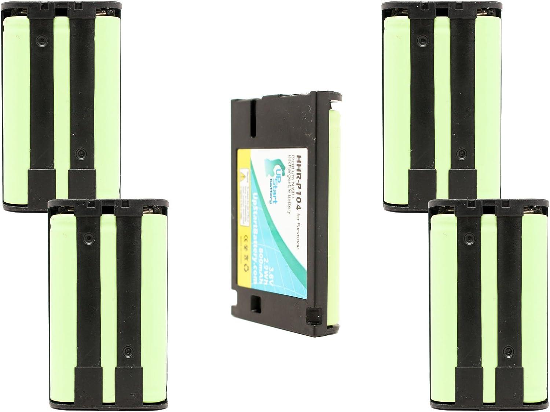 5unidades de repuesto para PANASONIC HHR-P104Batería para Panasonic HHR-P104, KX-TG4500, KX-TGA450B, KX-TG4500B, KX-TG5632, KX-TG6500, KX-TG2357, KX-TG5432, KX-TG5240, KX-TG2356teléfonos inalámbric