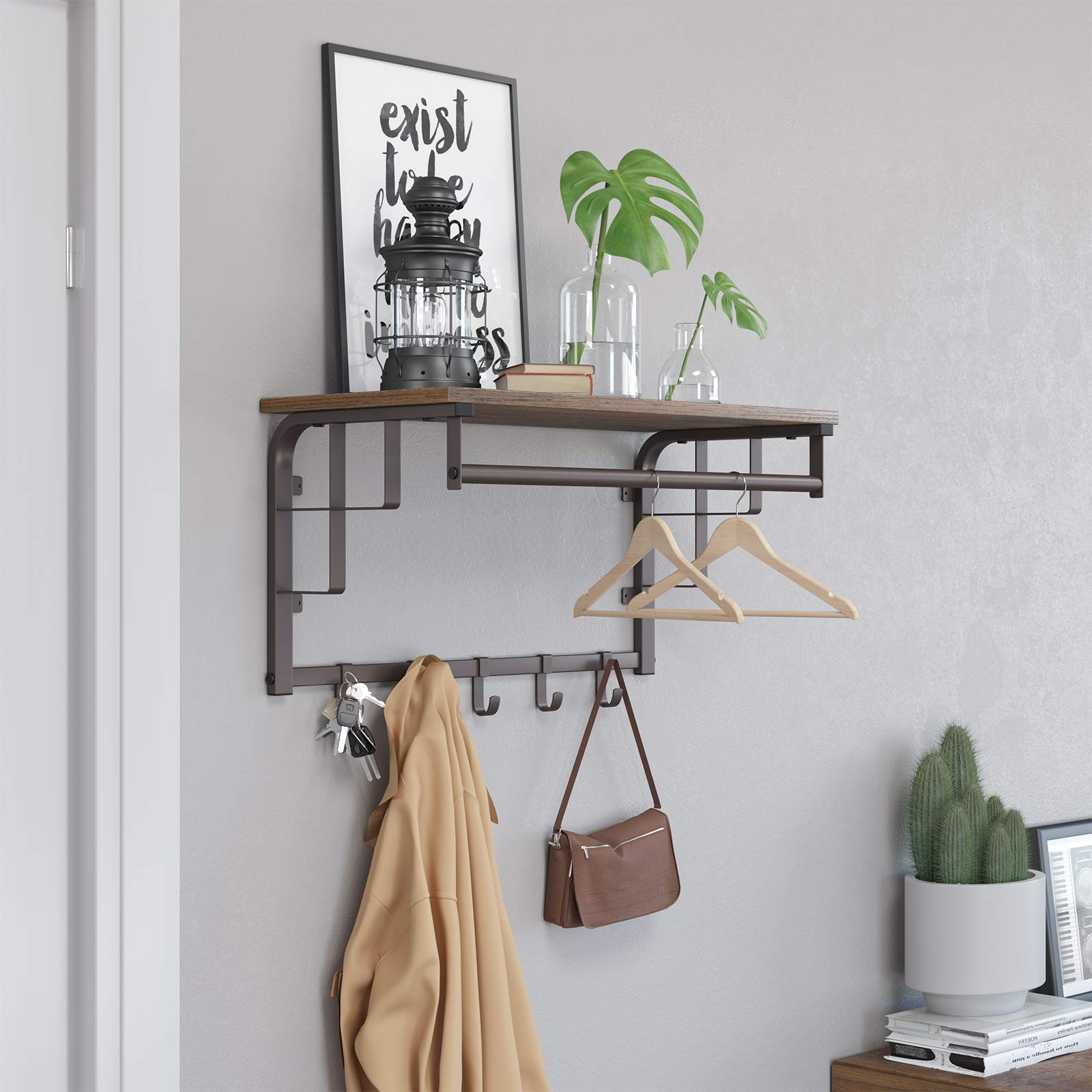 SONGMICS Vintage Coat Rack Shelf Wall Mounted, Coat Hooks Shelf with Hanging Rail, 5 Metal Removable Hooks and Storage Shelf for Entryway Hallway Bedroom Bathroom Living Room ULCR12AX by SONGMICS (Image #3)
