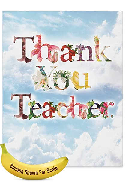 Amazon j2359attg jumbo teacher thank you greeting card thanks j2359attg jumbo teacher thank you greeting card thanks a bunch featuring flower filled fonts that m4hsunfo