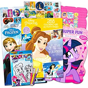 Disney MLP Coloring Book Super Set for Girls -- 4 Giant Coloring Books Featuring Disney Princess, Frozen and My Little Pony (Includes Disney Princess Stickers)