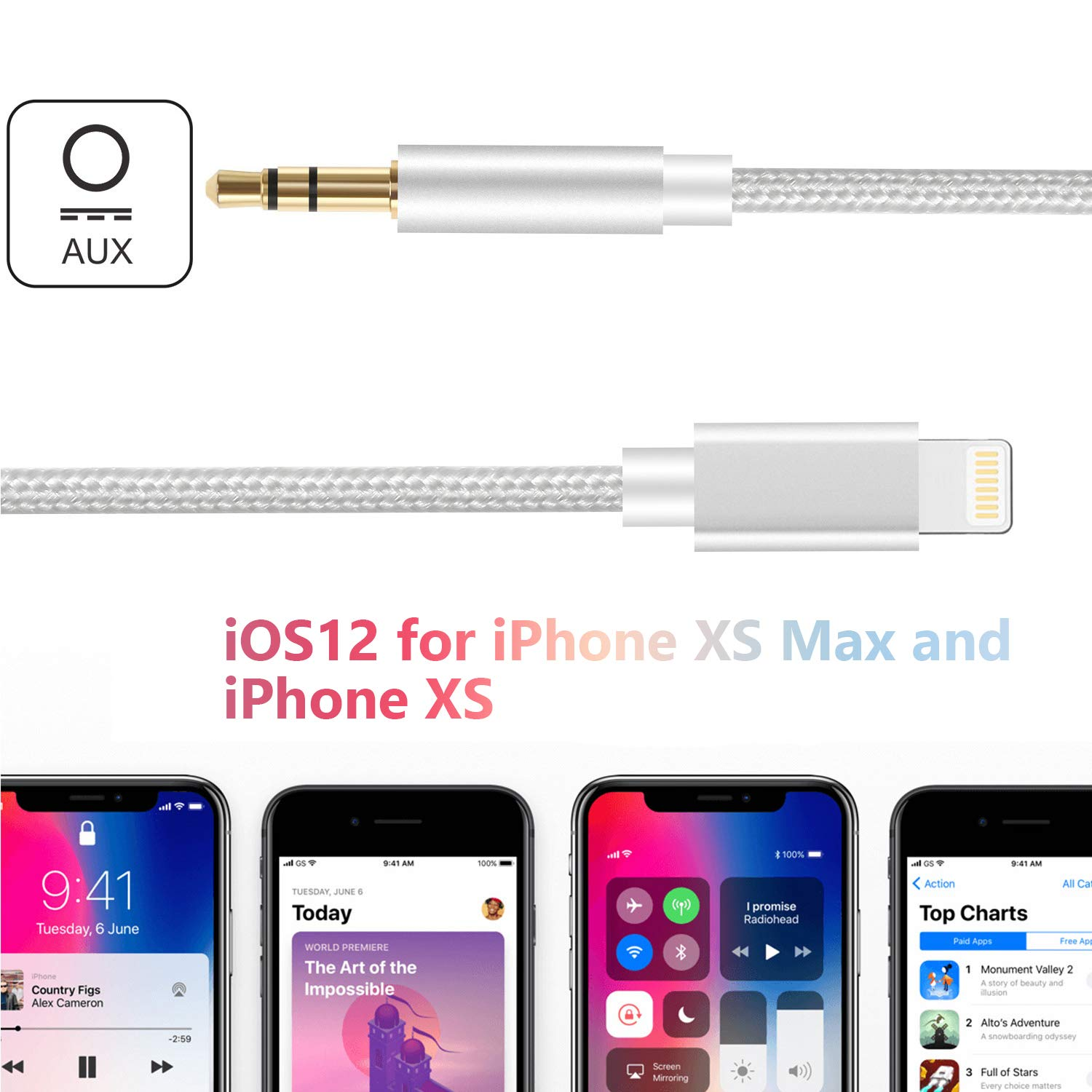 Silver HUIRID 3.5MM Aux Cable Compatible with Phone X Car AUX Cable to 3.5mm Aux Adapter Cord Compatible for Phone XS//XS Max//X//8//8 Plus//7//7Plus Pod Pad,Headphone,Stereo,Speaker