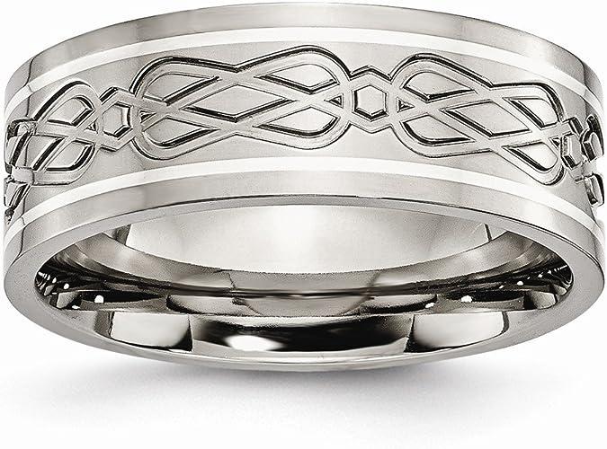 Amazon Com Titanium 925 Sterling Silver Inlay Irish Claddagh