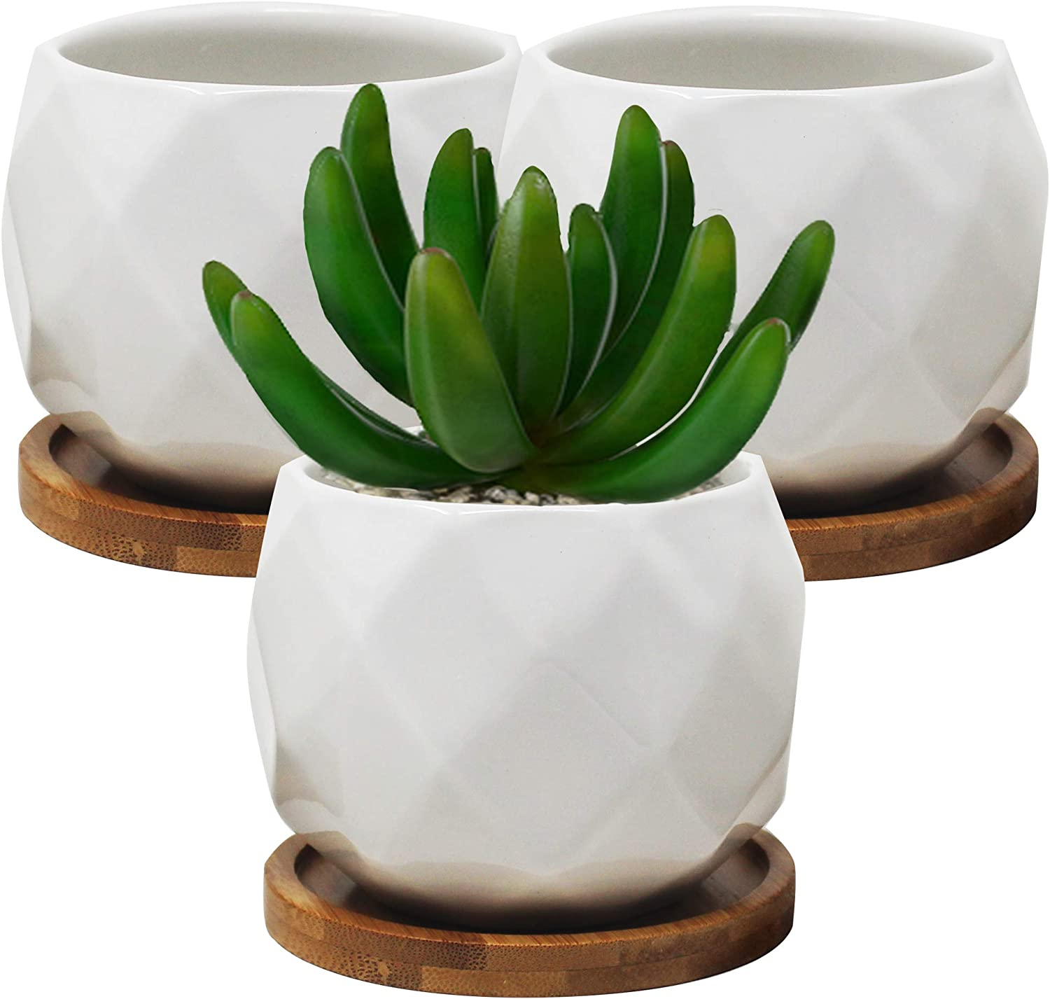 Ceramic Plant Pots with Drainage Holes and Saucers ~ Flower Pots Indoor with Saucer ~ 3 Inch Succulent Pots with Bamboo Tray & Drainage Hole ~ Indoor & Outdoor Home Decor ~ Pack of 3 (Diamond)