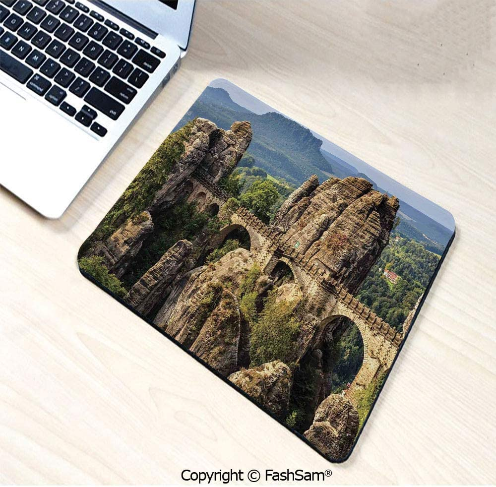 W9.85xL11.8 Desk Mat Mouse Pad Famous Historical Bastion Bridge in Germany Middle Age Culture Heritage Photo Art for Office