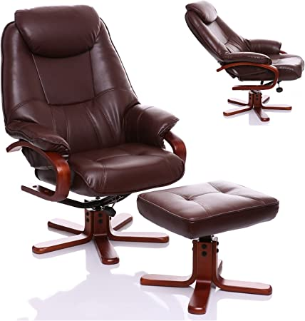 The Macau Bonded Leather Recliner Swivel Chair with Matching Footstool in Nut Brown
