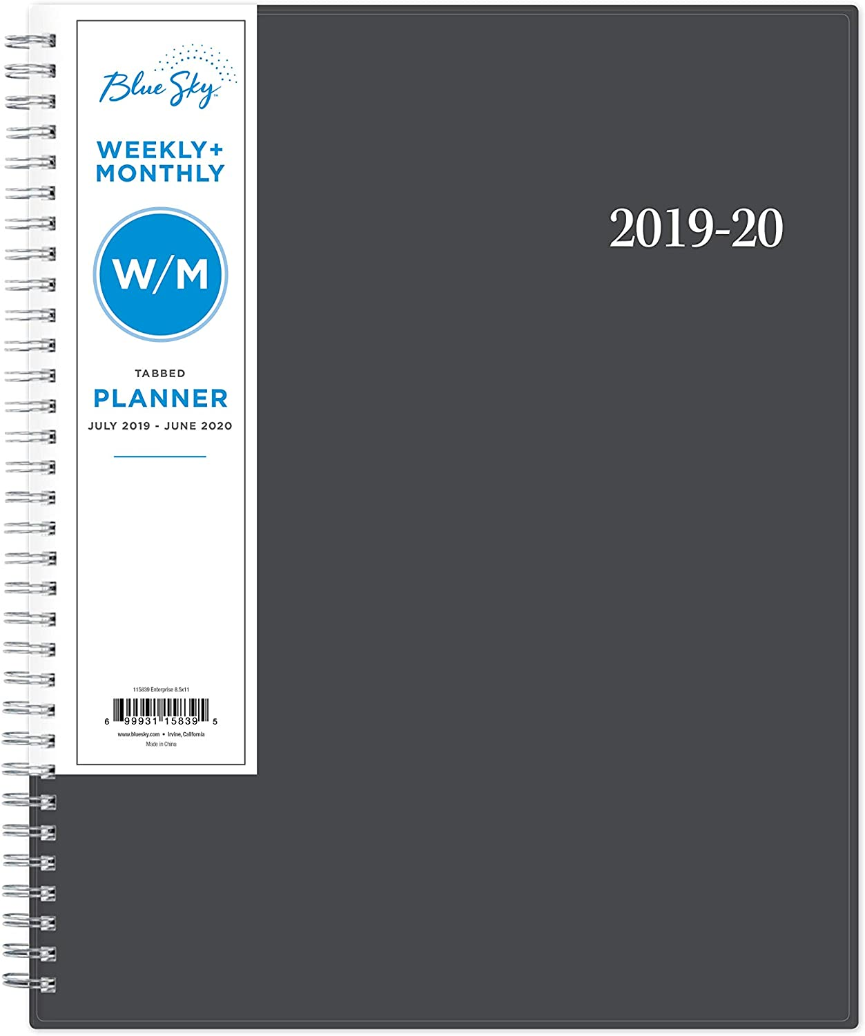Enterprise Blue Sky 2020-2021 Academic Year Weekly /& Monthly Planner 118062 Twin-Wire Binding Flexible Cover 8.5 x 11