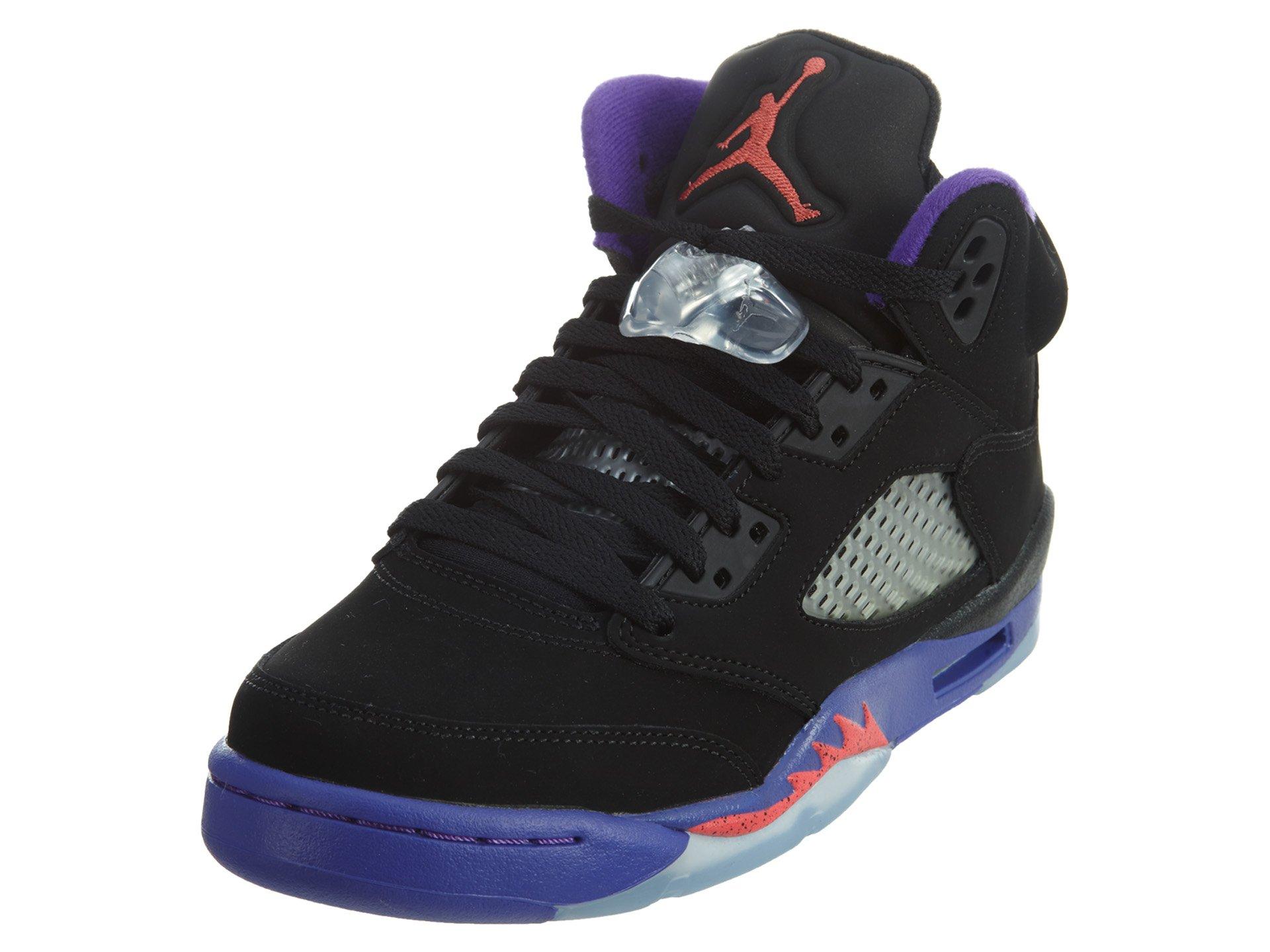 NIKE Girls Air Jordan 5 Retro GG Raptor Black/Ember Glow-Fierce Purple Leather Size 7Y