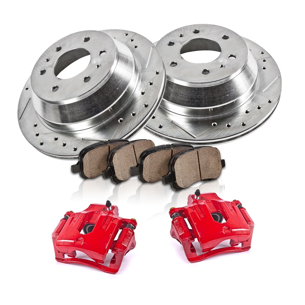 REAR Powder Coated Red [2] Calipers + [2] 6 Lug Rotors + Quiet Low Dust [4] Ceramic Pads Performance Kit Callahan Brake Parts