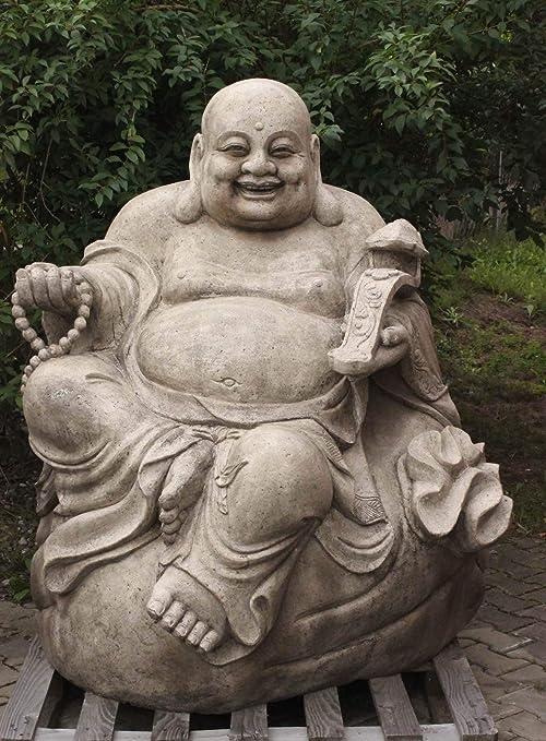 Estatua de Buda de la suerte para jardín (150 cm), de granito, estilo asiático: Amazon.es: Jardín