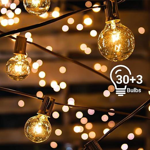 Guirnaldas Luces Exterior Avoalre 10m 30+3 Bombillas Guirnalda Luces Exterior G40 Impermeable IP65 Decoracion Navidad, Festivales, Bodas, Cobertizos, Patios, Jardines, Pérgolas -Blanco Cálido: Amazon.es: Iluminación