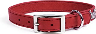 product image for Rockin Doggie Plain Leather Dog Collar, 1 by 16-Inch, Red