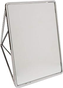 Bath Bliss Free Standing Geometric Vanity Mirror, Horizontal or Vertical, Make-up & Shaving Use, Tabletop, Chrome