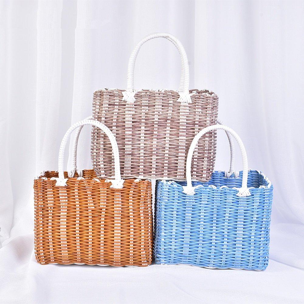 SEESUNG Plastic Woven Bath Blue Bathroom Storage Basket Basket Baby Portable Basket Basket Hanging Basket Flower Basket, Yellow by SEESUNG (Image #3)