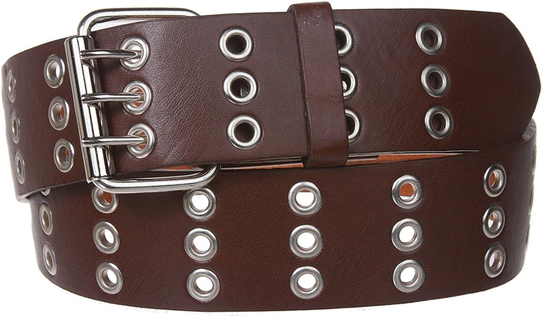 BBBelts Men 1-1//2 White Genuine Leather 3 Hole Rows Triple Prong Buckle Belt