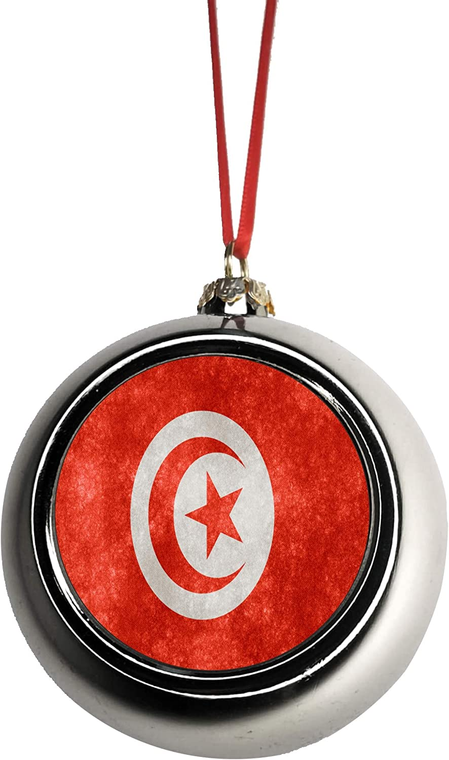 Amazon Com Rosie Parker Inc Flag Tunisia Tunisian Grunge Bauble Christmas Ornaments Silver Bauble Tree Xmas Balls Home Kitchen