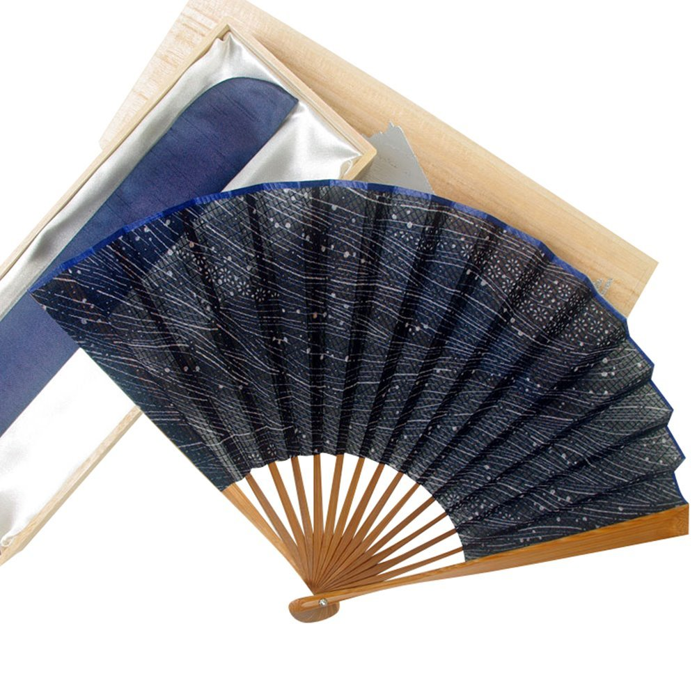 Bamboo Handle Edo-Style Yukata Fabric Hand Fan 8.8'' - Tiny Flower Pattern [Japanese Crafts Sakura]